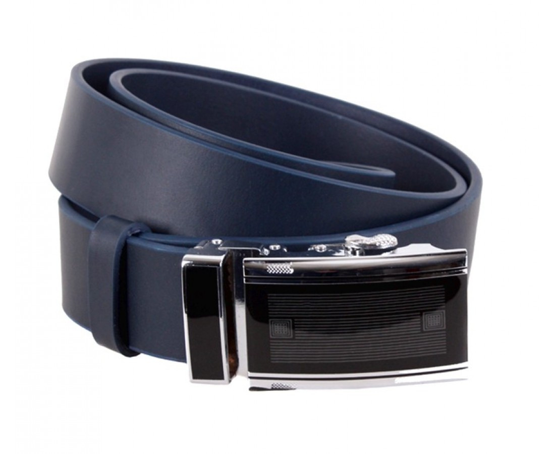 Мужской кожаный ремень синий Dovhani Italy ALD666-26