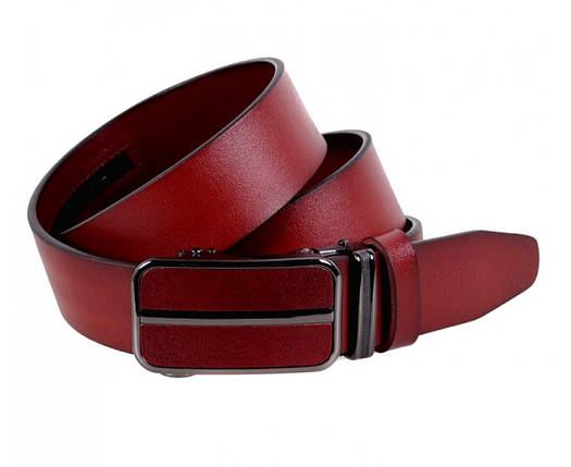 Мужской кожаный ремень вишневый Shpenek MGA101-3, фото 2