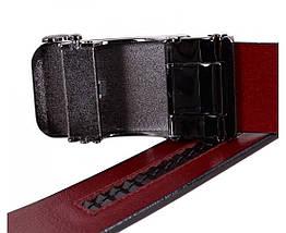 Мужской кожаный ремень вишневый Shpenek MGA101-3, фото 3