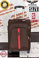 Маленький прочный коричневый дорожный чемодан на 2 колесах фирма Wings Одесса Украина