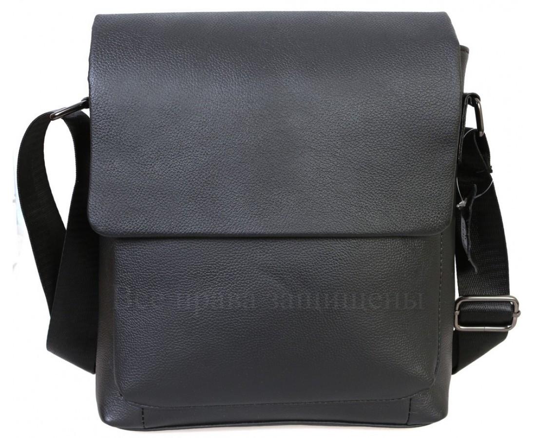 Мужская кожаная сумка через плечо черный  (Формат: А5) NAVI NV2R006
