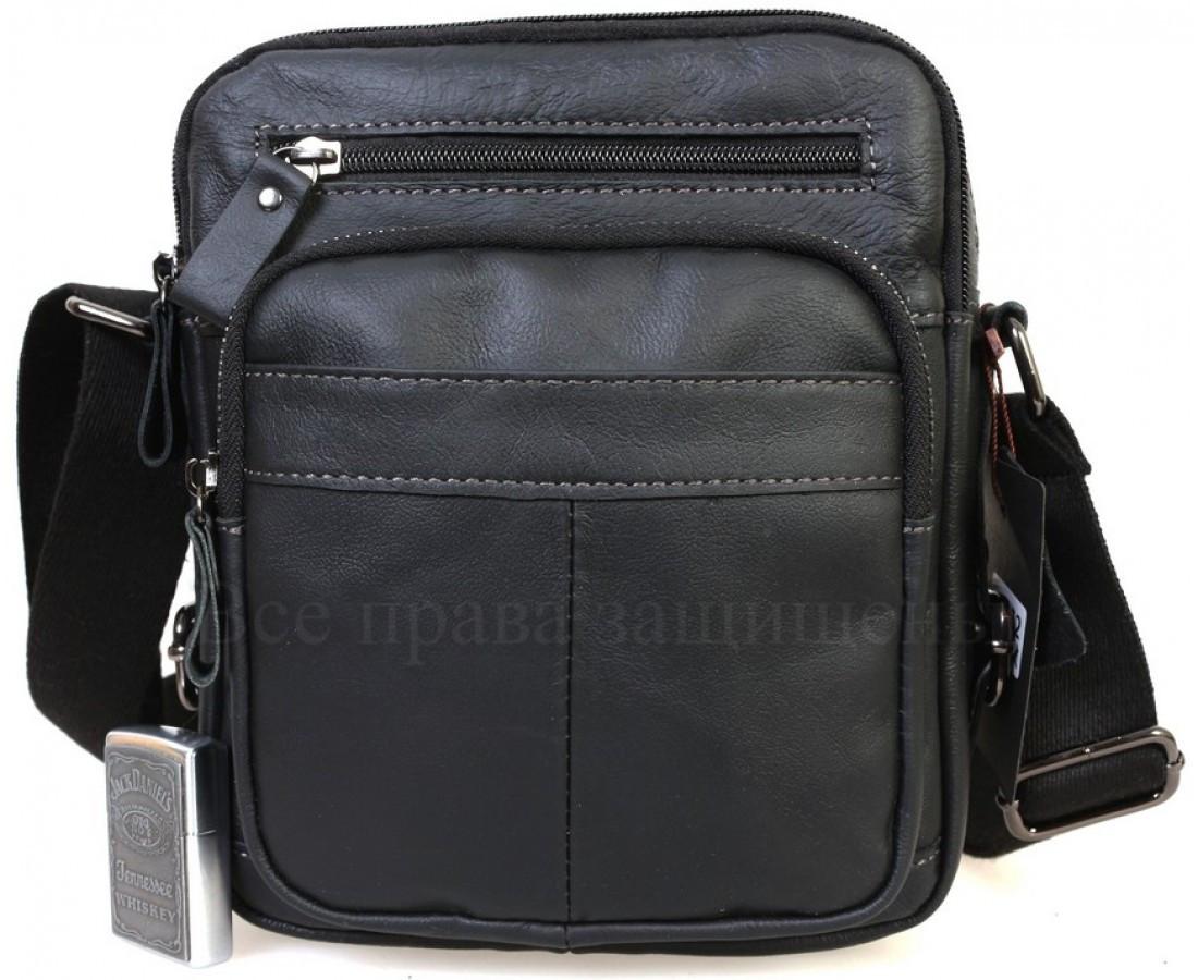 Мужская кожаная сумка через плечо черный  (Формат: А5) NAVI NVPRE5262D-BLACK