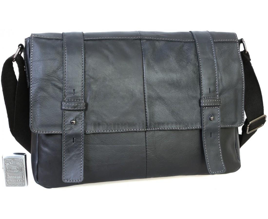 Мужская кожаная сумка черный  (Формат: А4 и больше) NAVI NVPRE1862-BLACK