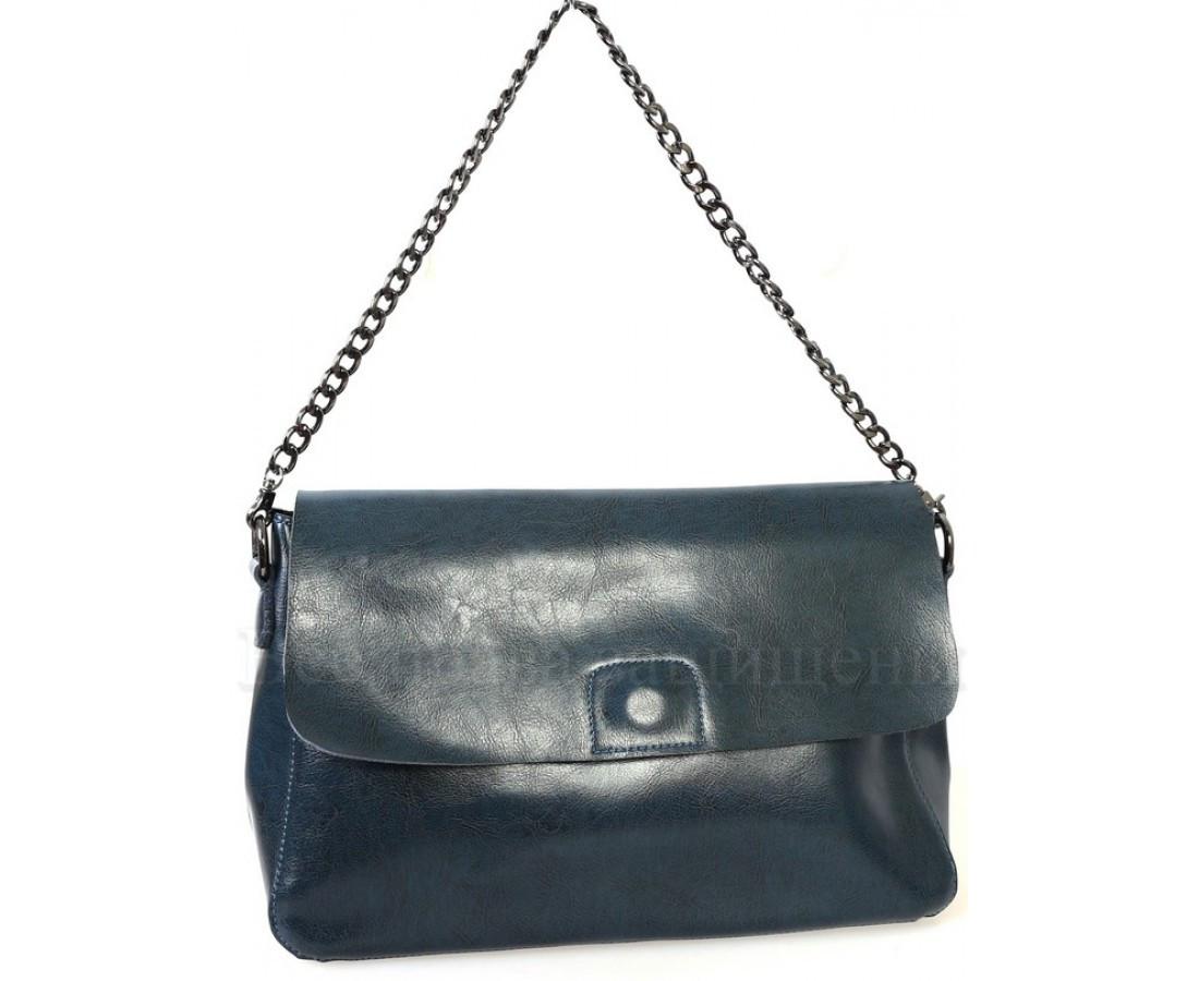 Женская кожаная сумка синий  (Формат: больше А5) SK Leather Collection SKY1908-BLUE