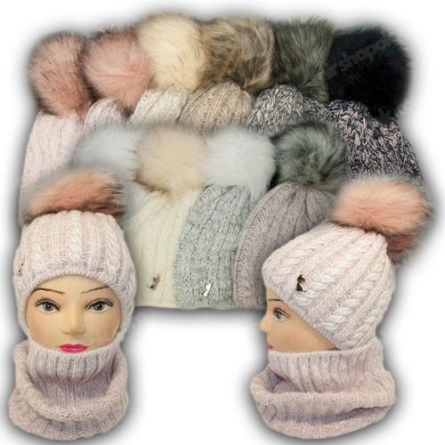 ОПТ Детский комплект - шапка и шарф хомут для девочки, 52-54 (5шт/набор)