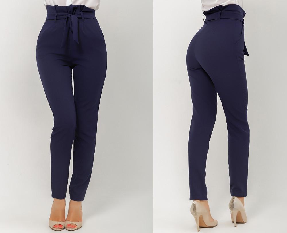 Женские штаны прямые с высокой посадкой