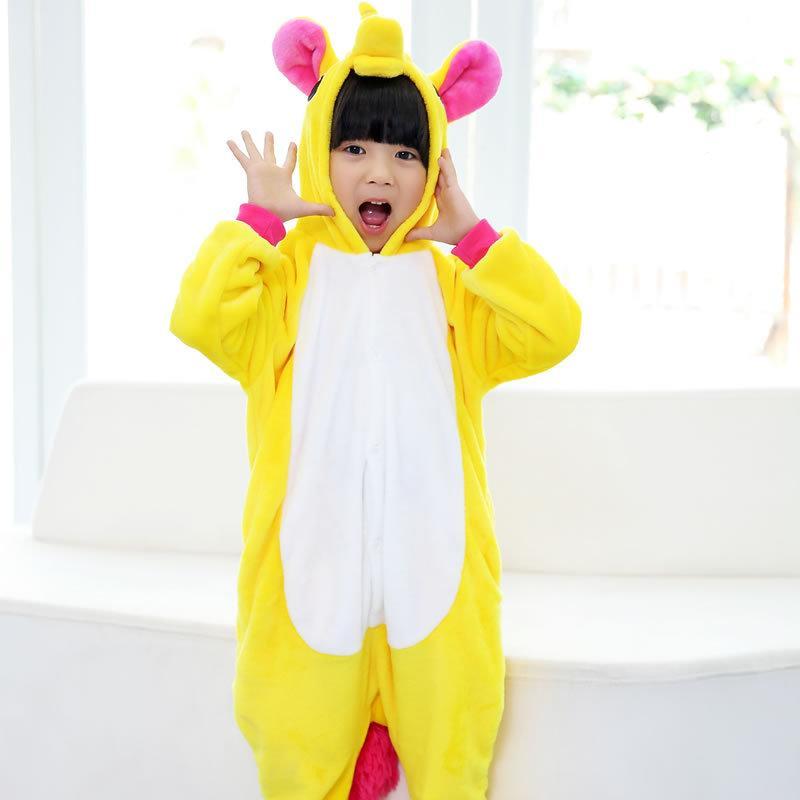 Пижама кигуруми для детей Единорог желтый