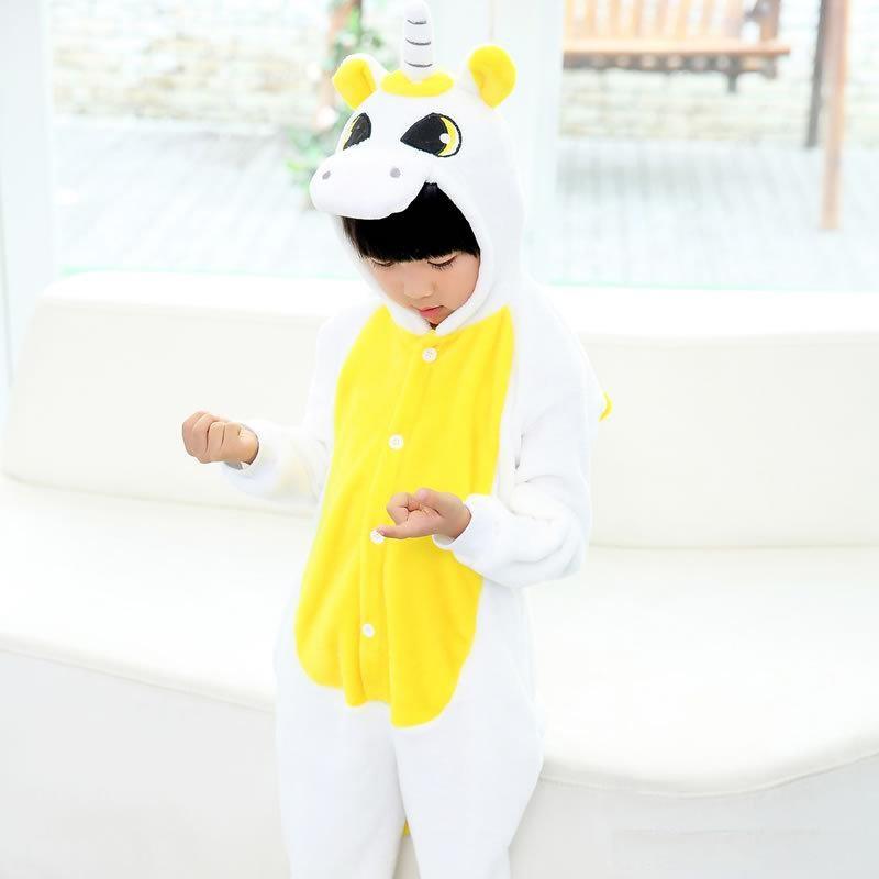 Пижама кигуруми для детей Единорог желто-белый