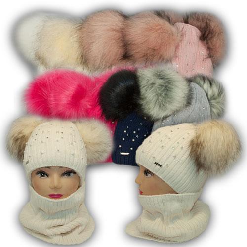 ОПТ Детский комплект - шапка с двумя помпонами и шарф хомут для девочки, 52-54 (5шт/набор)