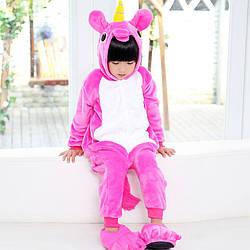 Пижама кигуруми для детей Единорог розовый 110 (105-115см)