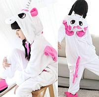 Пижама кигуруми для детей Единорог бело-розовый