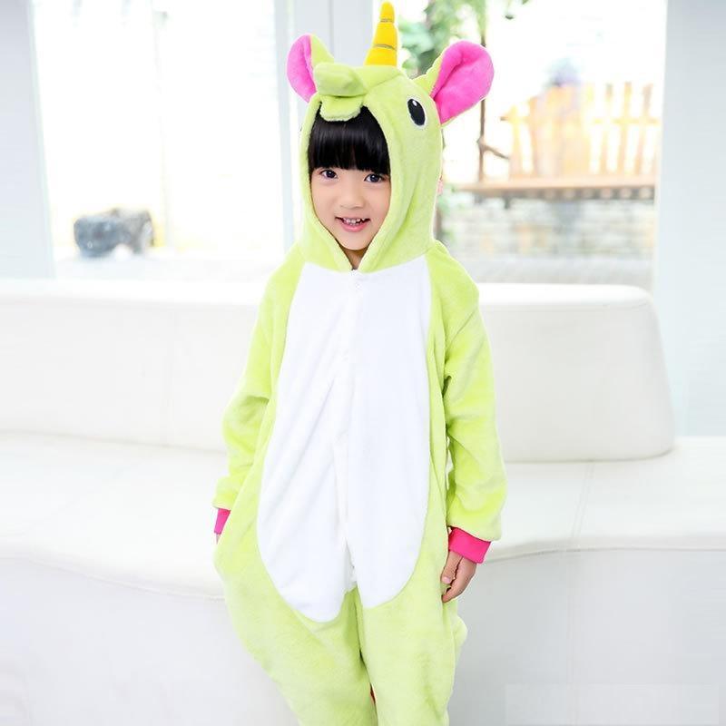 Пижама кигуруми для детей Единорог салатовый
