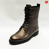 Женские бронзовые ботинки рант камни, фото 1