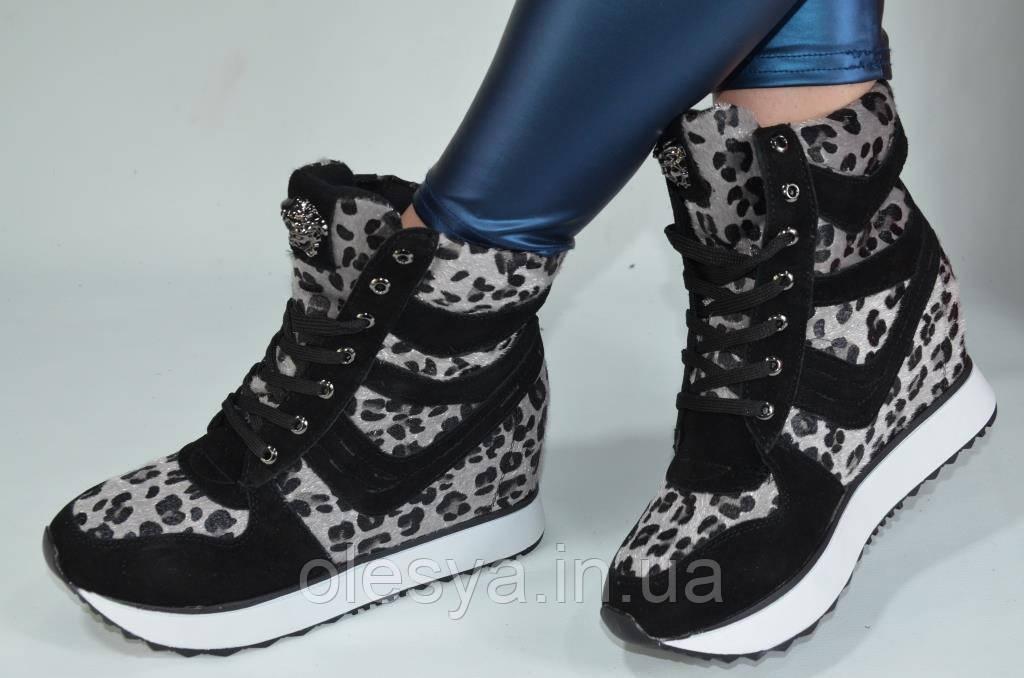 Модные женские сникерсы с леопардовым принтом Размеры 35 36