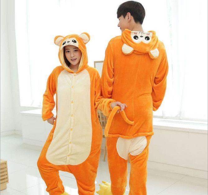 Пижама кигуруми женская и мужская Обезьяна оранжевая