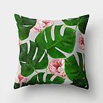 Подушка декоративная Розовый цветок и монстера 45 х 45 см Berni