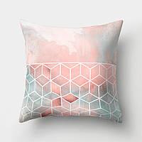 Подушка декоративная Кубы на розовом 45 х 45 см Berni