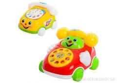Заводная игрушка телефон на колесах, на запуске, муз., в кул. 13,5х11,5х9см. 28028-98 (240) [287137]