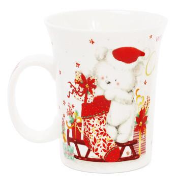Кружка фарфоровая Рождественский мишка 310мл 4 вида (283-102)