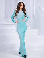 aa6485db23cb427 Ментоловый элегантный женский брючный костюм из велюра. Арт-7301/80