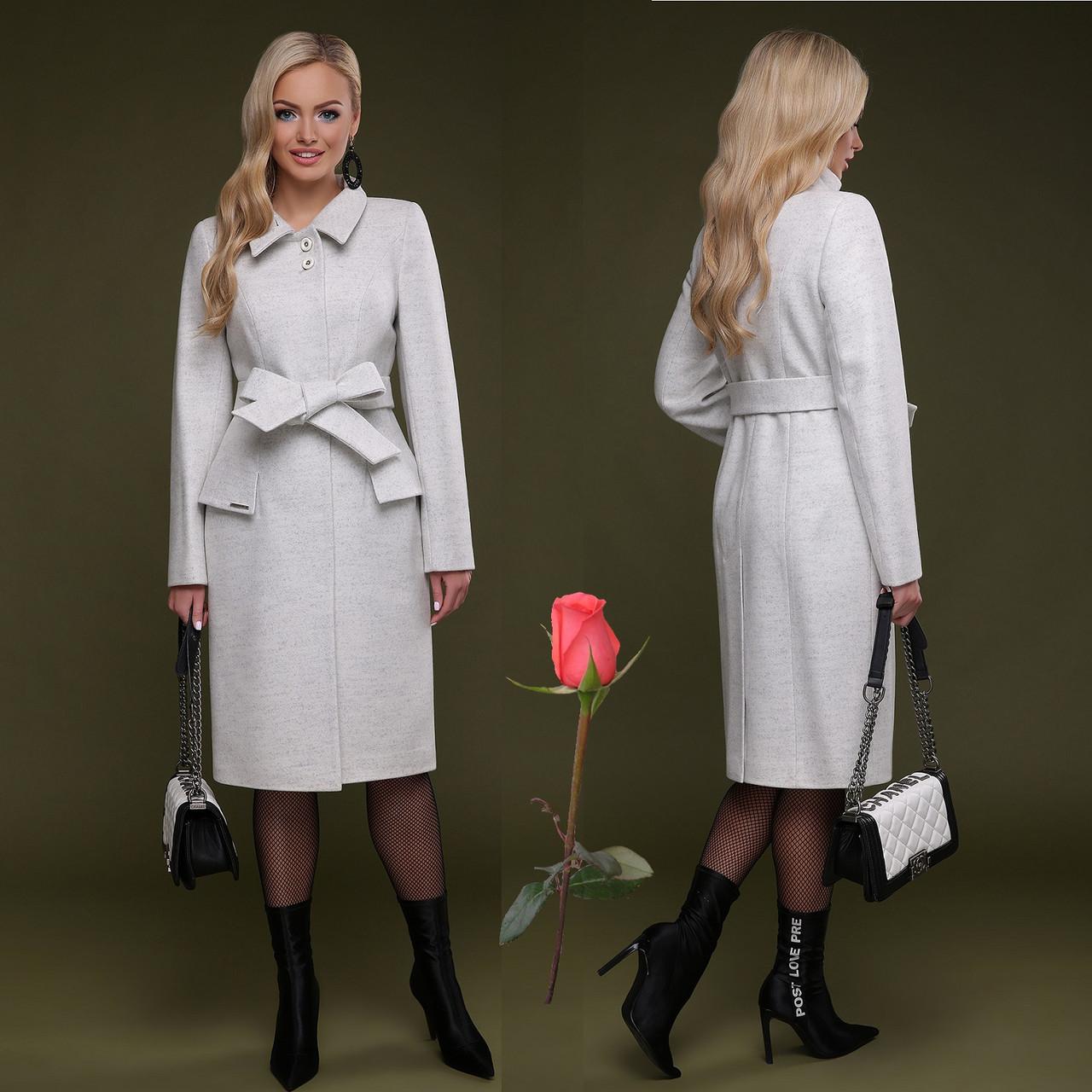 Элегантное демисезонное  полушерстяное  женское Пальто  с отложным воротником  CL 77083 -  Белый