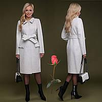 Элегантное демисезонное  полушерстяное  женское Пальто  с отложным воротником  CL 77083 -  Белый, фото 1