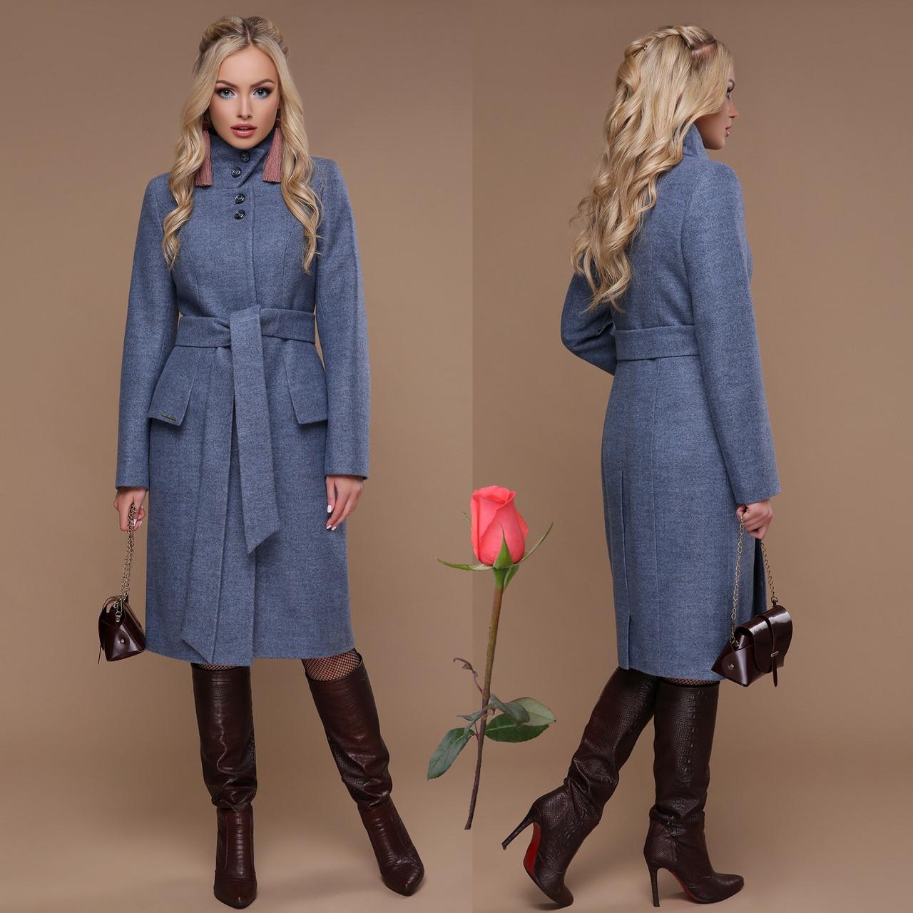 Элегантное демисезонное  полушерстяное  женское Пальто  с отложным воротником  CL 77083 -  Голубой