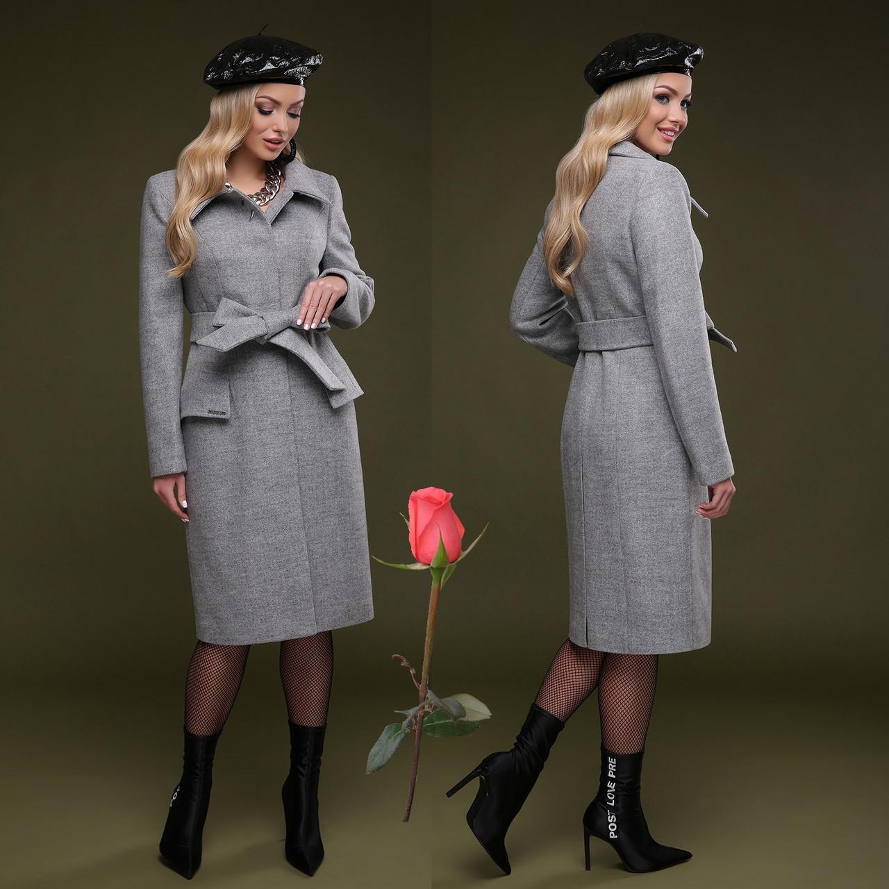 Элегантное демисезонное  полушерстяное  женское Пальто  с отложным воротником  CL 77083 - Серый