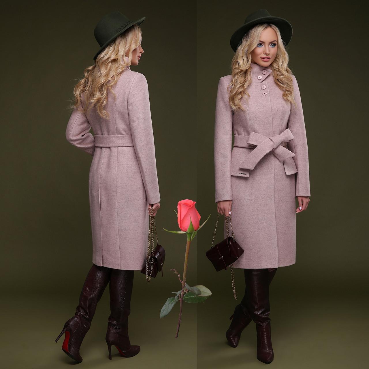 Элегантное демисезонное  полушерстяное  женское Пальто  с отложным воротником  CL 77083 - Розовый
