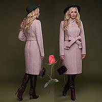 Элегантное демисезонное  полушерстяное  женское Пальто  с отложным воротником  CL 77083 - Розовый, фото 1