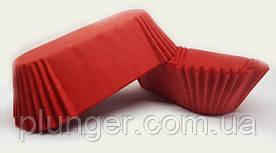 Тарталетка бумажная овальная для эклеров, тортиков, пирожных Красная, 80мм х 35мм. высота 30мм