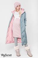 Стильное зимнее двухстороннее пальто для беременных TOKYO, розовое с оливкой*