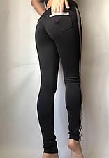 Лосины женские  с кожаными вставками на флисе №031/3 (БАТАЛ), фото 2