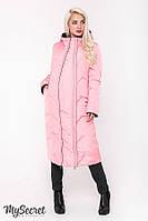 Стильное зимнее двухстороннее пальто для беременных TOKYO, розовое с черным