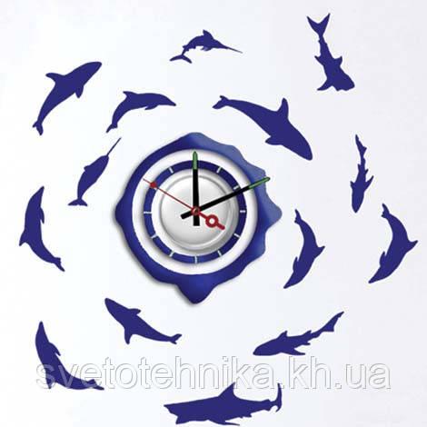 """Декоративна вінілова наклейка з годинником """"Риби""""Feron NL20"""