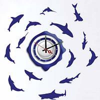 """Декоративная виниловая наклейка с часами """"Рыбы""""Feron NL20"""