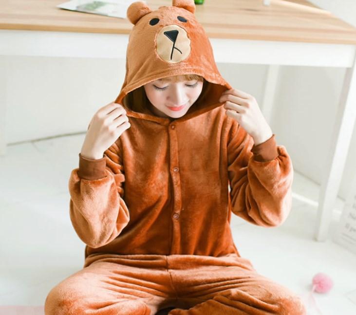 Пижама кигуруми женская и мужская Бурый Медведь