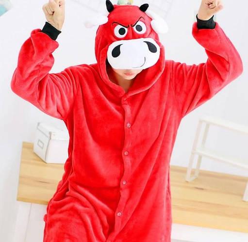 Пижама кигуруми женская и мужская Бык красный
