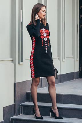 Женское теплое платье вязаное Стася черный - красный - белый, фото 2