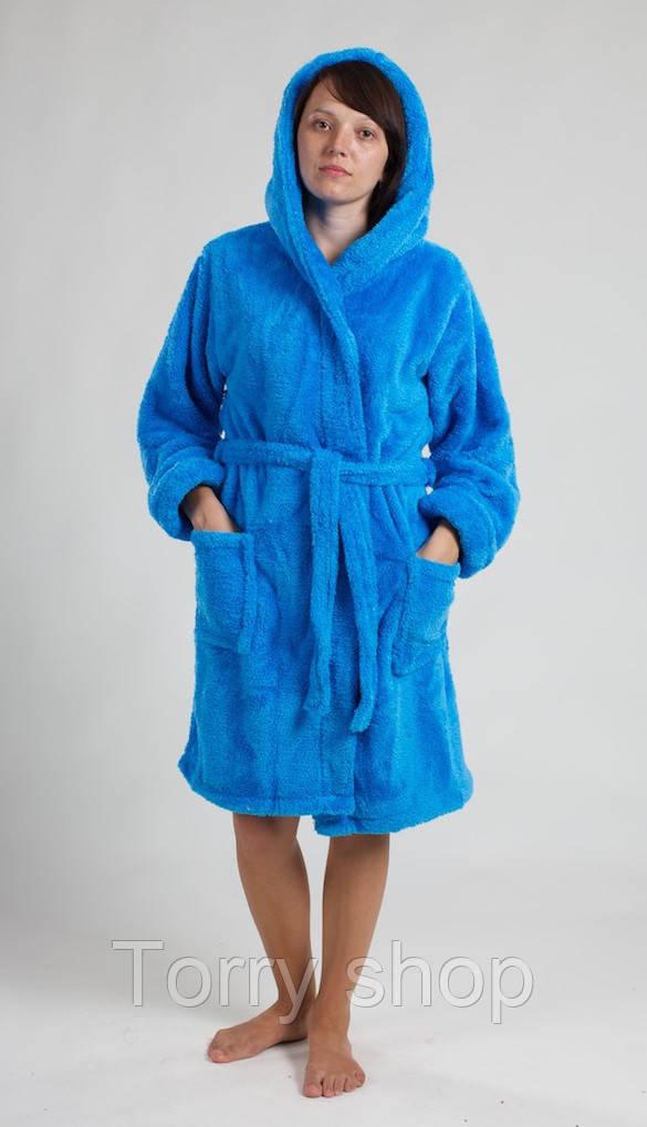 Короткий женский халат на запах, махра вел-софт