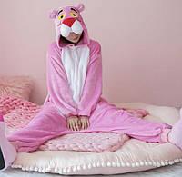 Пижама кигуруми женская и мужская Пантера розовая
