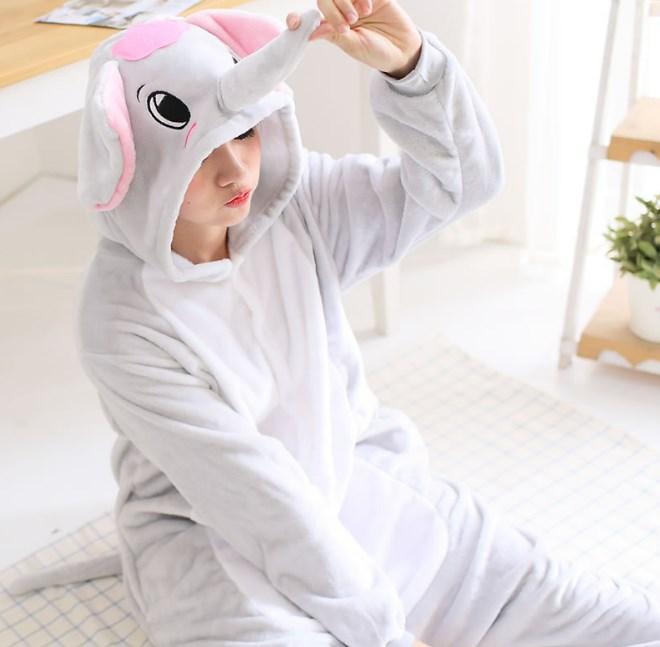 Пижама кигуруми женская и мужская Слон серый