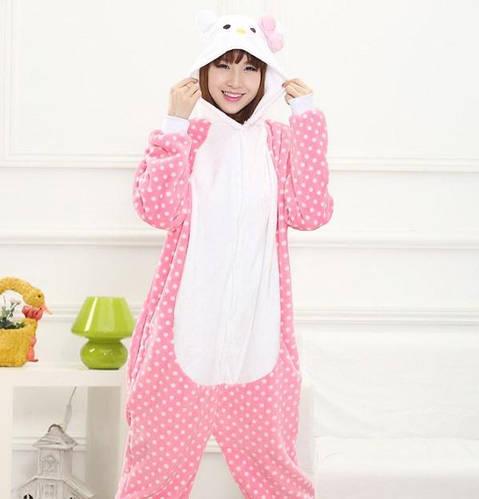 Пижама кигуруми женская Hello Kitty розовая