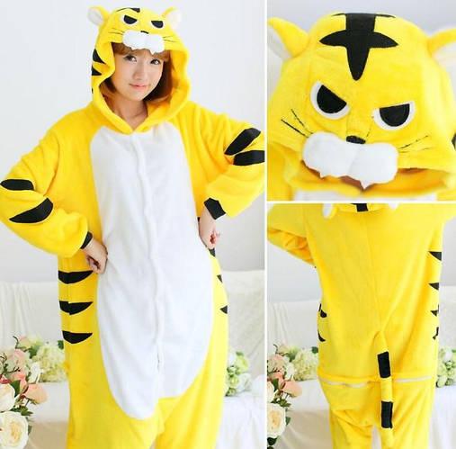 Пижама кигуруми женская и мужская Тигр желтый