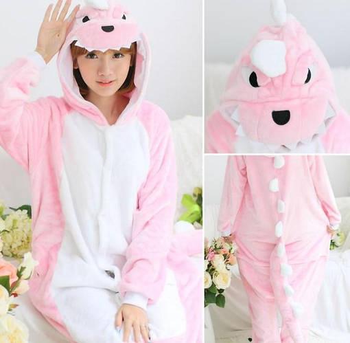 Пижама кигуруми женская и мужская Дракон розовый