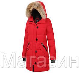 Женский пуховик Canada Goose Lorette Parka Red зимняя куртка парка Кнада Гус красная
