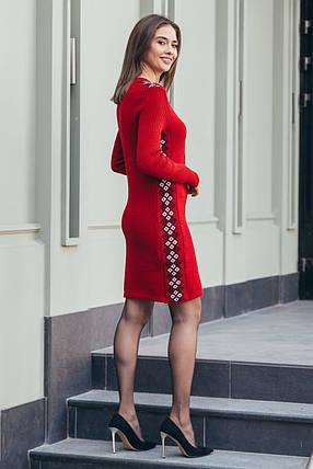 Вязаное платье Стася вишня - черный - белый, фото 2