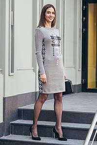 Вязаное платье Стася капучино - черный - белый