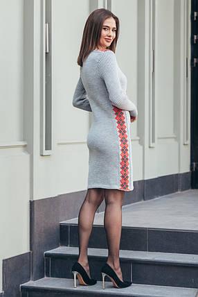 Вязаное платье Стася светло-серый - алый - черный, фото 2