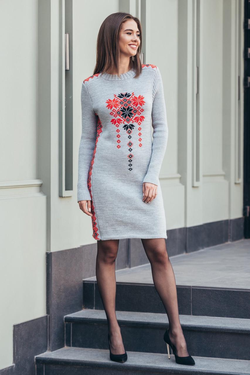 Вязаное платье Стася светло-серый - алый - черный